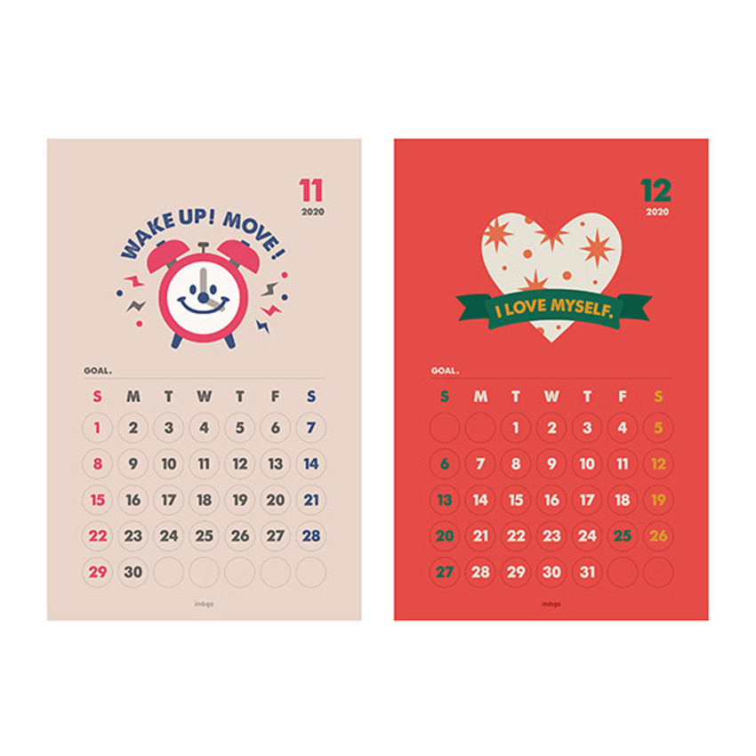 Calendar sheets - Indigo 2021 Cheer me up monthly wall poster calendar