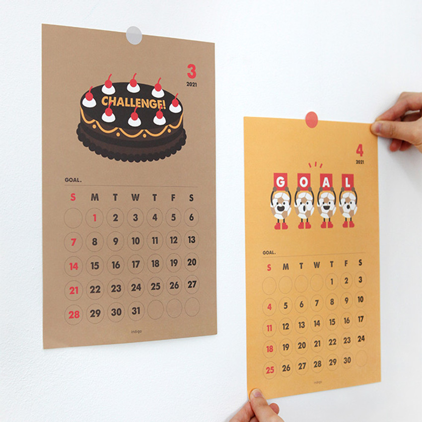 Usage example - Indigo 2021 Cheer me up monthly wall poster calendar