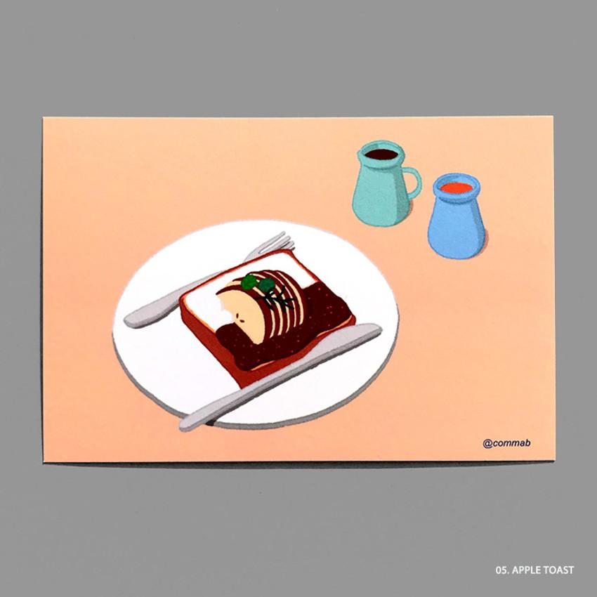 05 APPLE TOAST - Design comma-B Sweet dessert illustration postcard