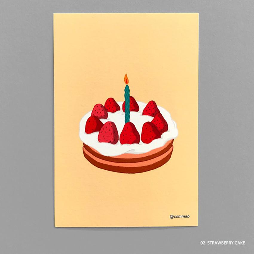 02 STRAWBERRY CAKE - Design comma-B Sweet dessert illustration postcard