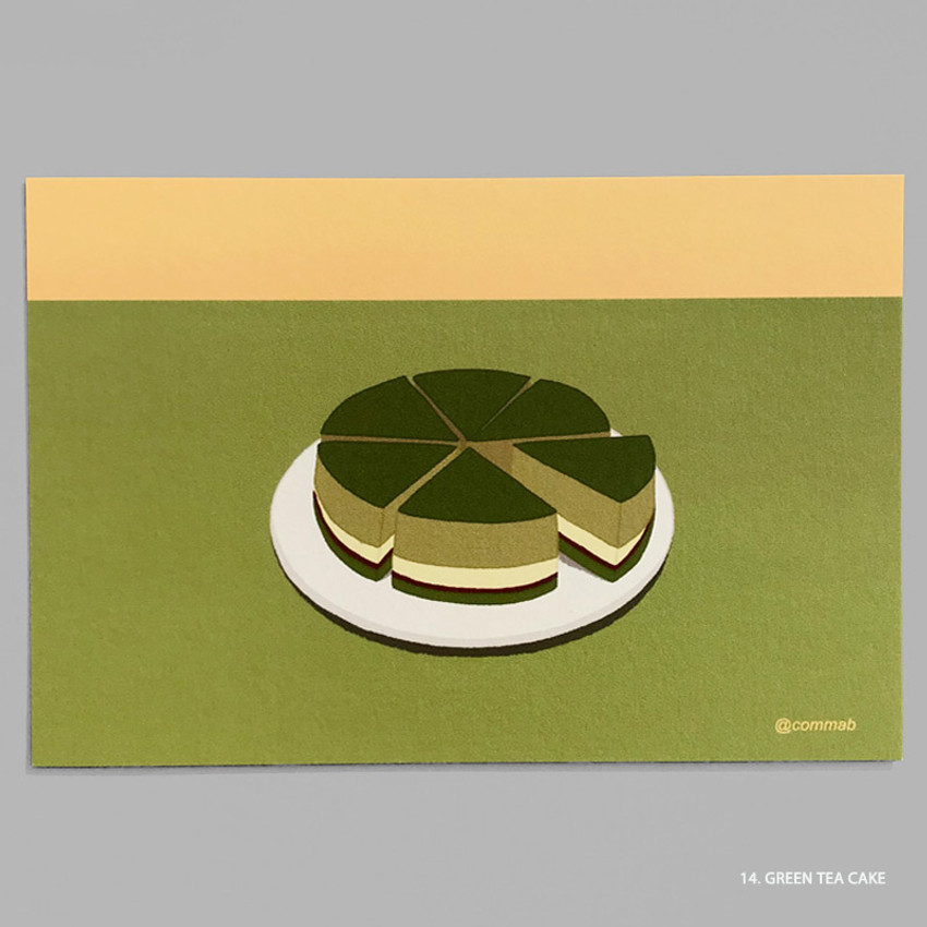 14 GREEN TEA CAKE - Design comma-B Sweet dessert illustration postcard