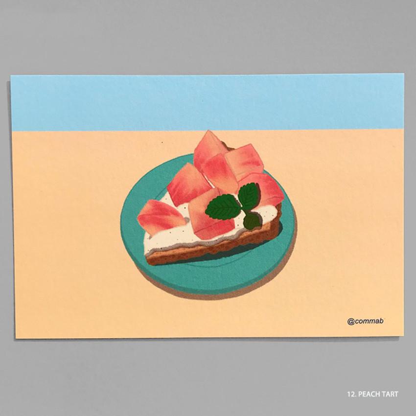 12 PEACH TART - Design comma-B Sweet dessert illustration postcard