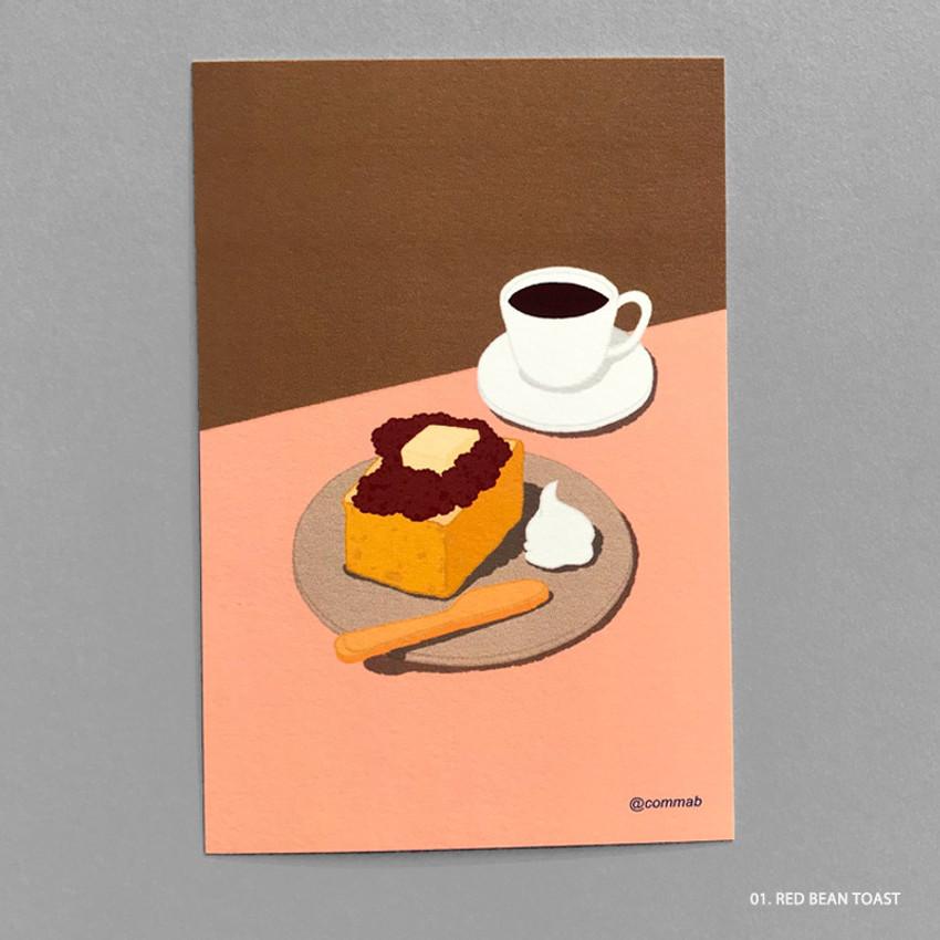 01 RED BEAN TOAST - Design comma-B Sweet dessert illustration postcard