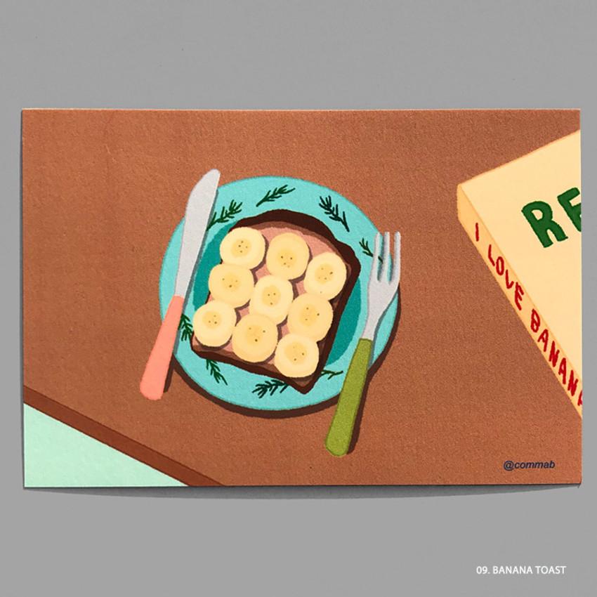 09 BANANA TOAST - Design comma-B Sweet dessert illustration postcard