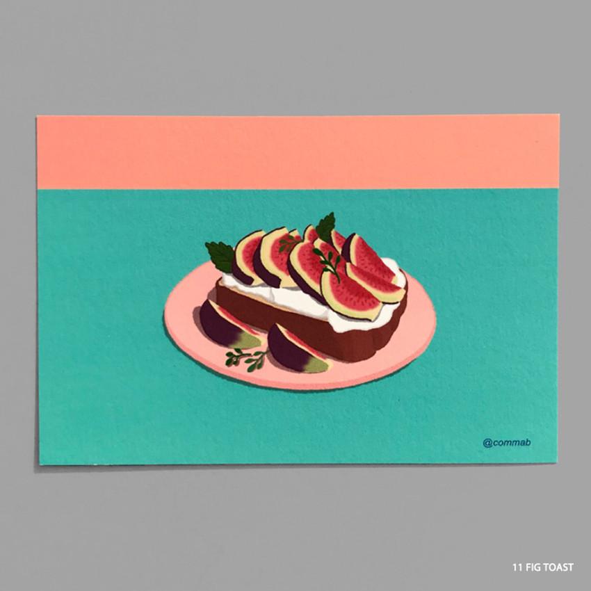 11 FIG TOAST - Design comma-B Sweet dessert illustration postcard