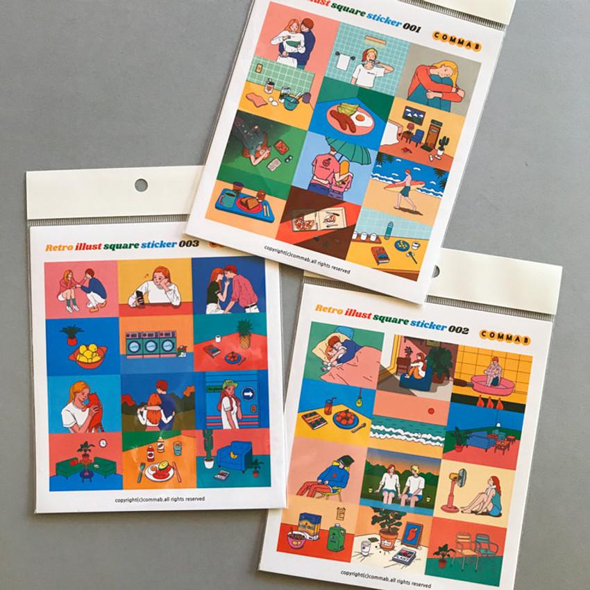Design comma-B Retro illustration squared paper sticker