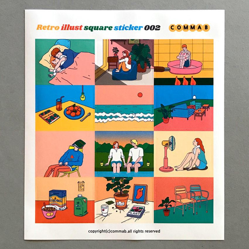 002 - Design comma-B Retro illustration squared paper sticker