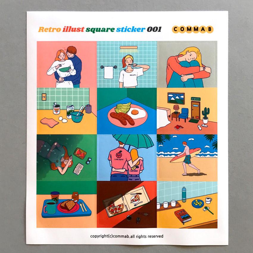 001 - Design comma-B Retro illustration squared paper sticker