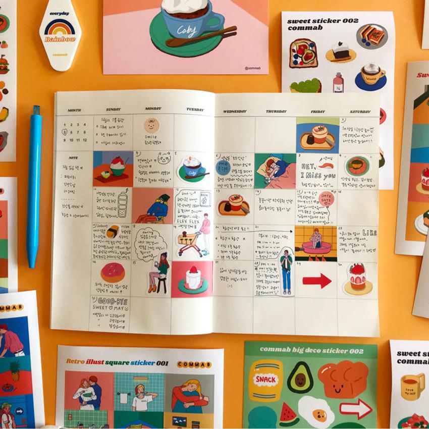 Usage example - Design comma-B Retro illustration squared paper sticker