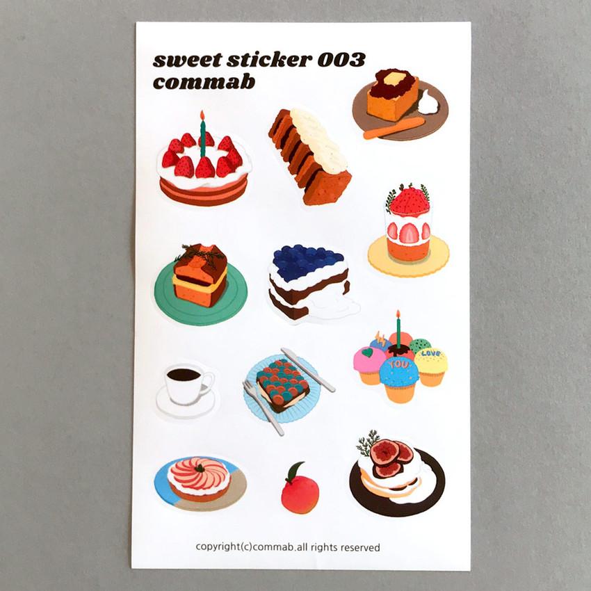 003- Design comma-B Sweet dessert illustration paper sticker