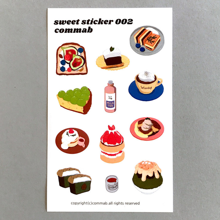 002- Design comma-B Sweet dessert illustration paper sticker