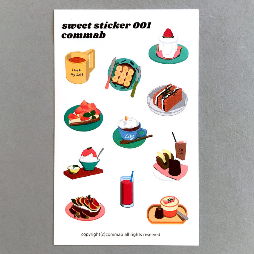 001- Design comma-B Sweet dessert illustration paper sticker