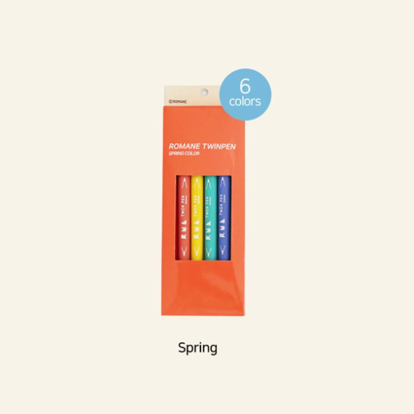 Spring - ROMANE Four seasons double ended color pen set