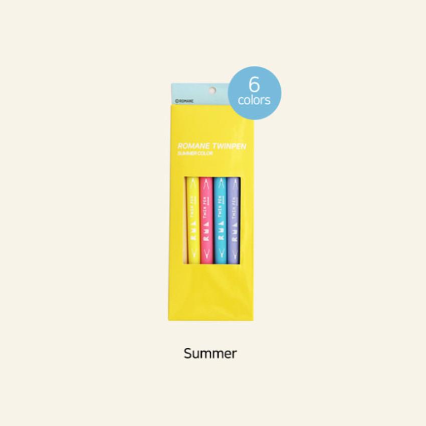 Summer - ROMANE Four seasons double ended color pen set