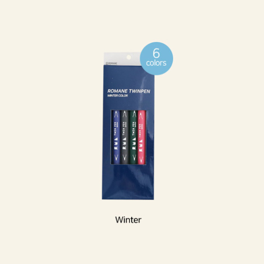 Winter - ROMANE Four seasons double ended color pen set