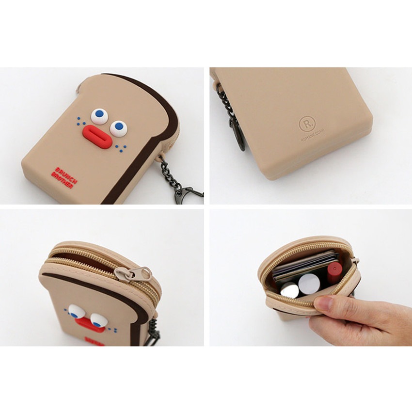 Detail of ROMANE Toast zipper card holder pouch with key clip