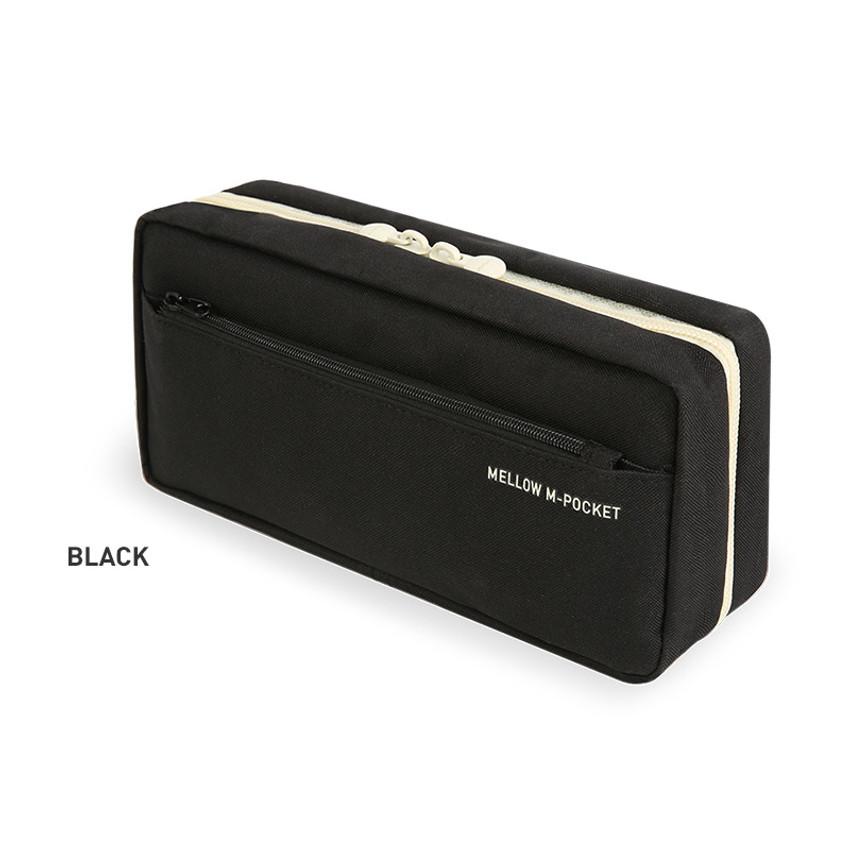 Black - Monopoly Mellow M-pocket zipper pencil case pouch ver2