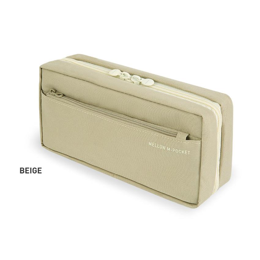 Beige - Monopoly Mellow M-pocket zipper pencil case pouch ver2