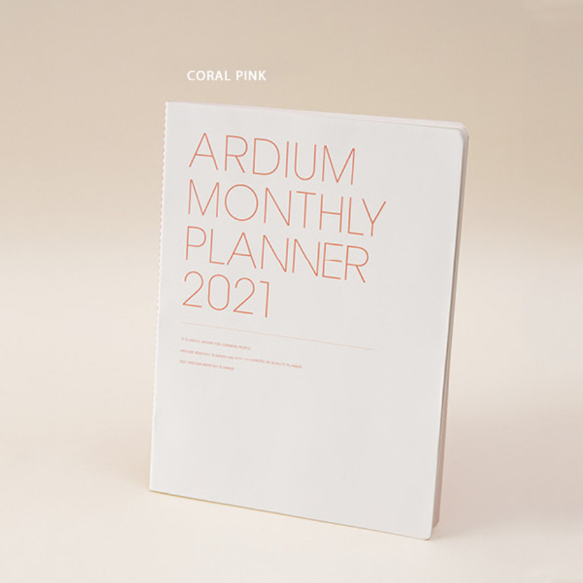 Coral pink - Ardium 2021 large dated monthly planner scheduler