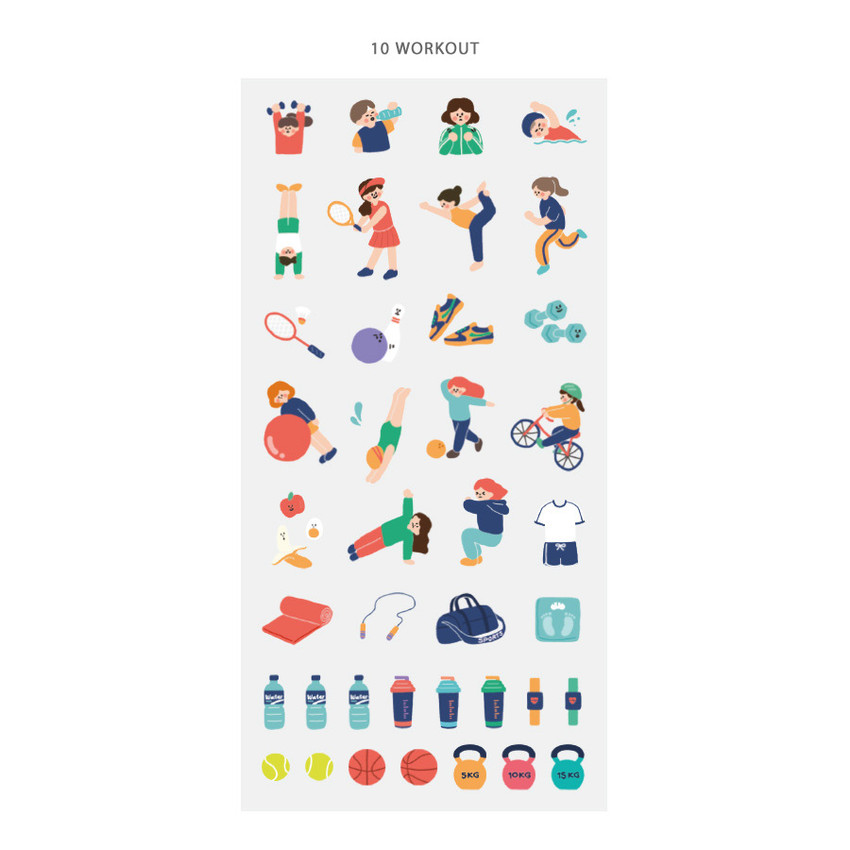 10 work out - ICONIC Today mini removable sticker seal