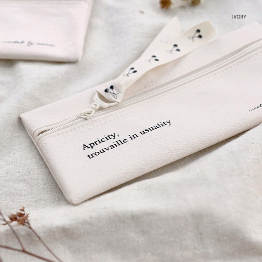 Ivory - ICONIC Cottony flat zipper pencil case pouch