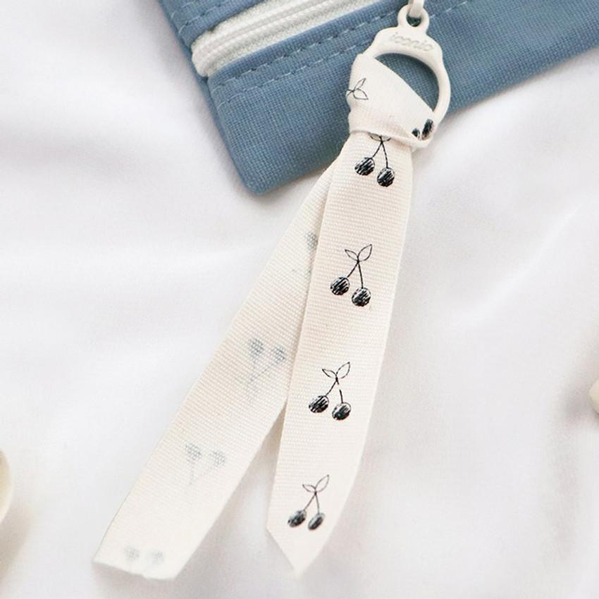 Cute cherry strap - ICONIC Cottony flat zipper pencil case pouch