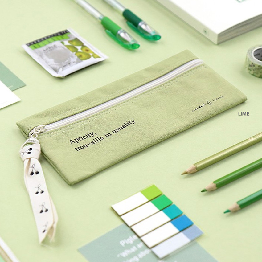 Lime - ICONIC Cottony flat zipper pencil case pouch