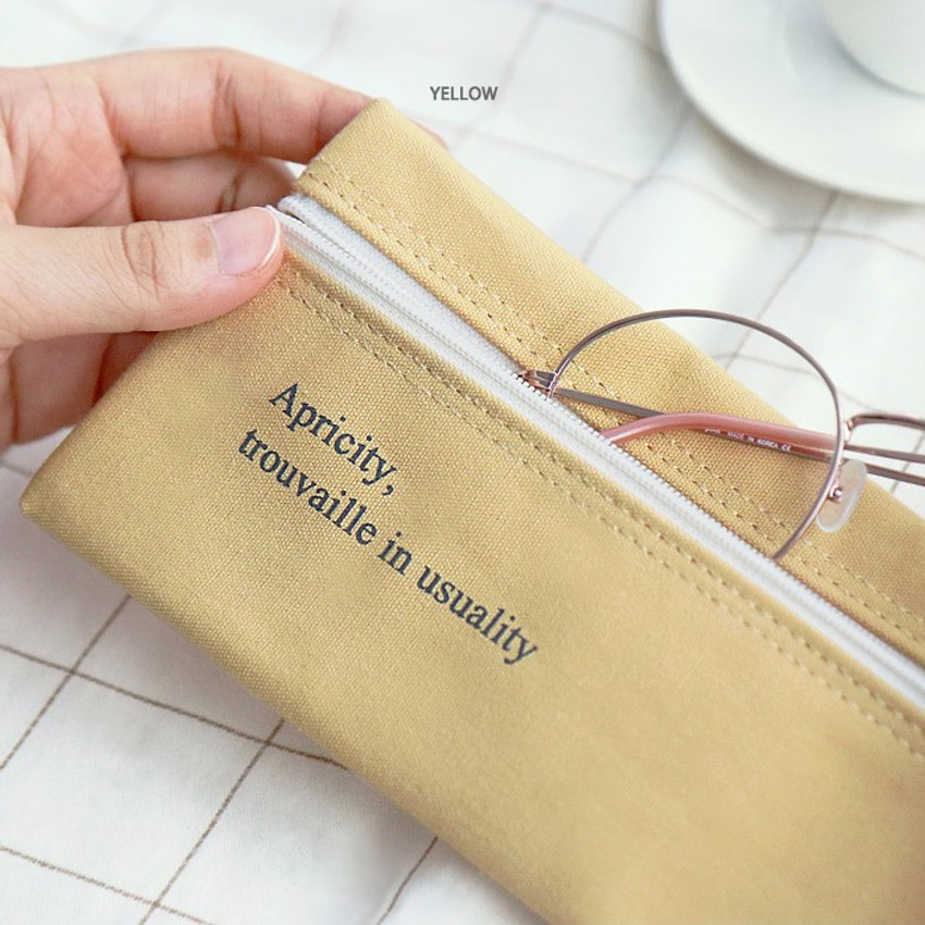 Yellow - ICONIC Cottony flat zipper pencil case pouch