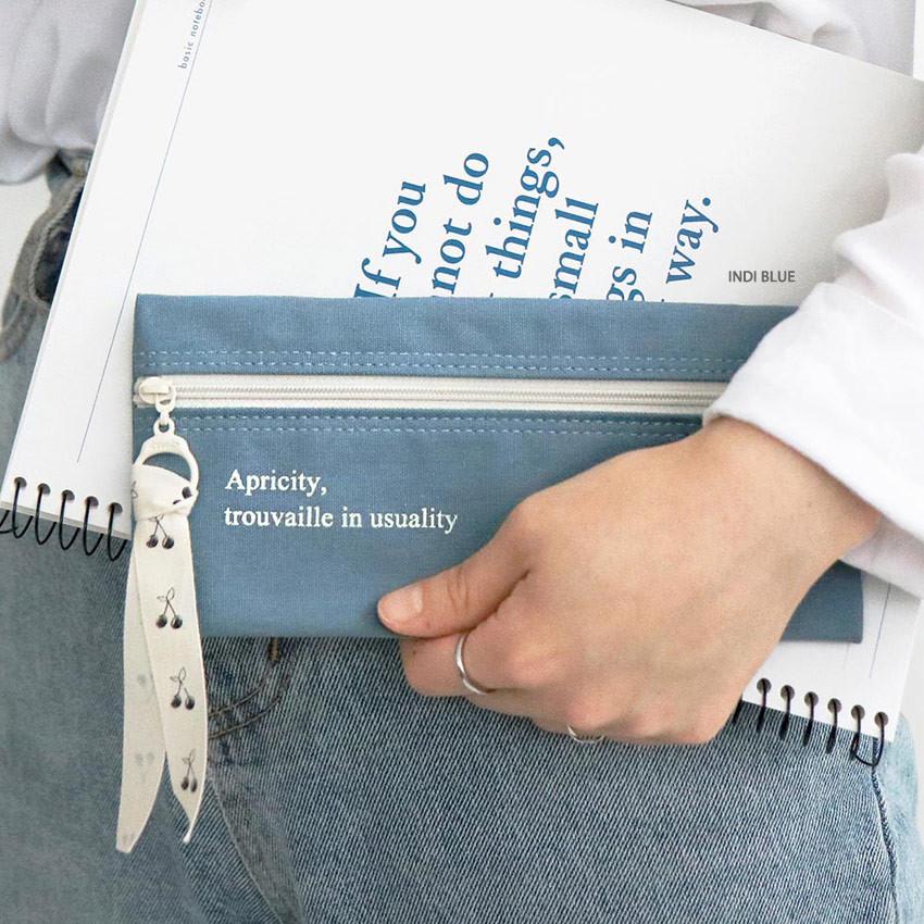 Indi blue - ICONIC Cottony flat zipper pencil case pouch