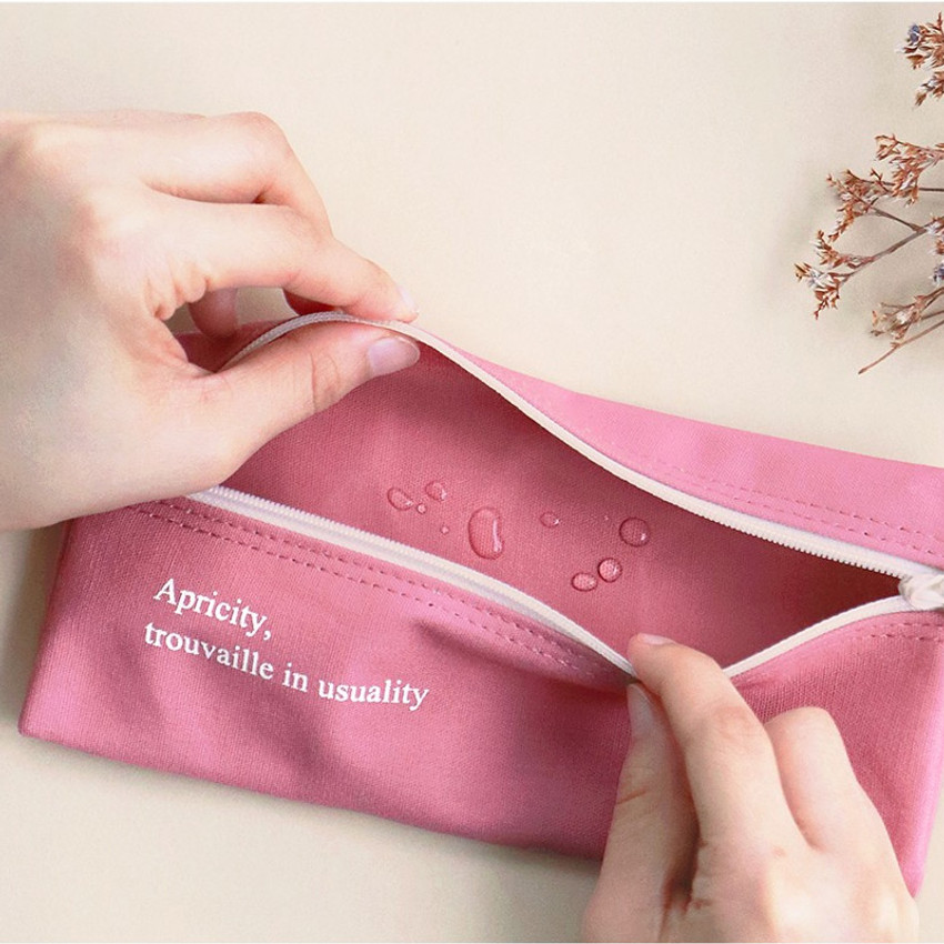 Inner PVC coated - ICONIC Cottony flat zipper pencil case pouch