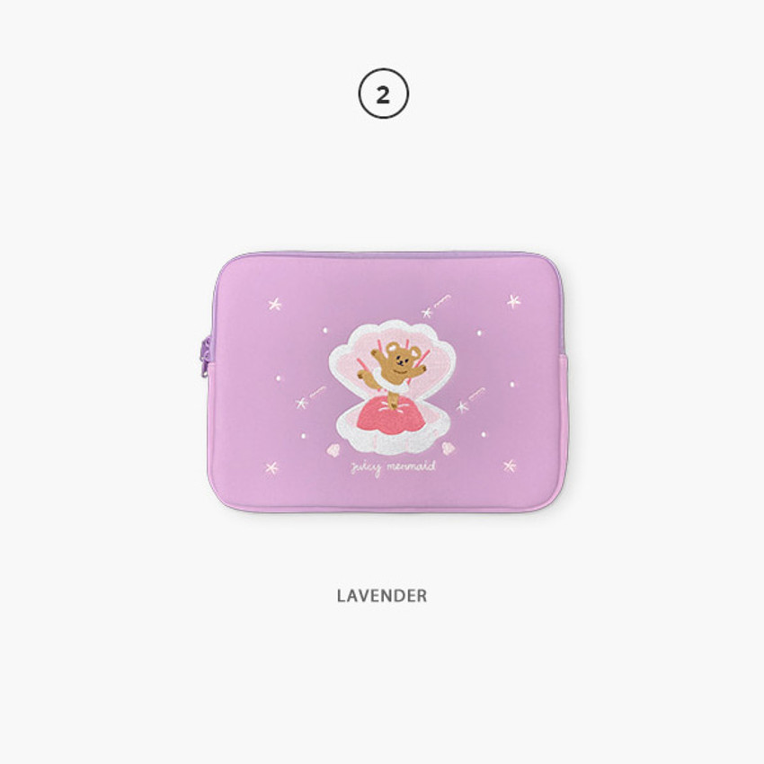 02 Lavender - Second Mansion Juicy bear 13 inch laptop sleeve case pouch