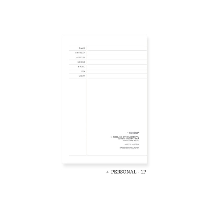 Personal data - Indigo 2021 Official soft dated monthly diary planner