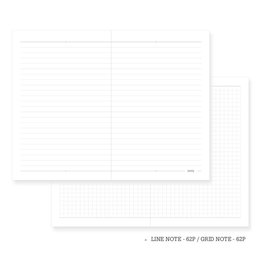 Lined note & Grid note - Indigo 2021 Official soft dated monthly diary planner
