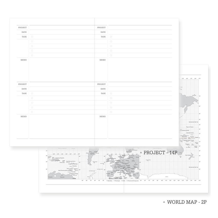 Project note & world map - Indigo 2021 Official soft dated monthly diary planner