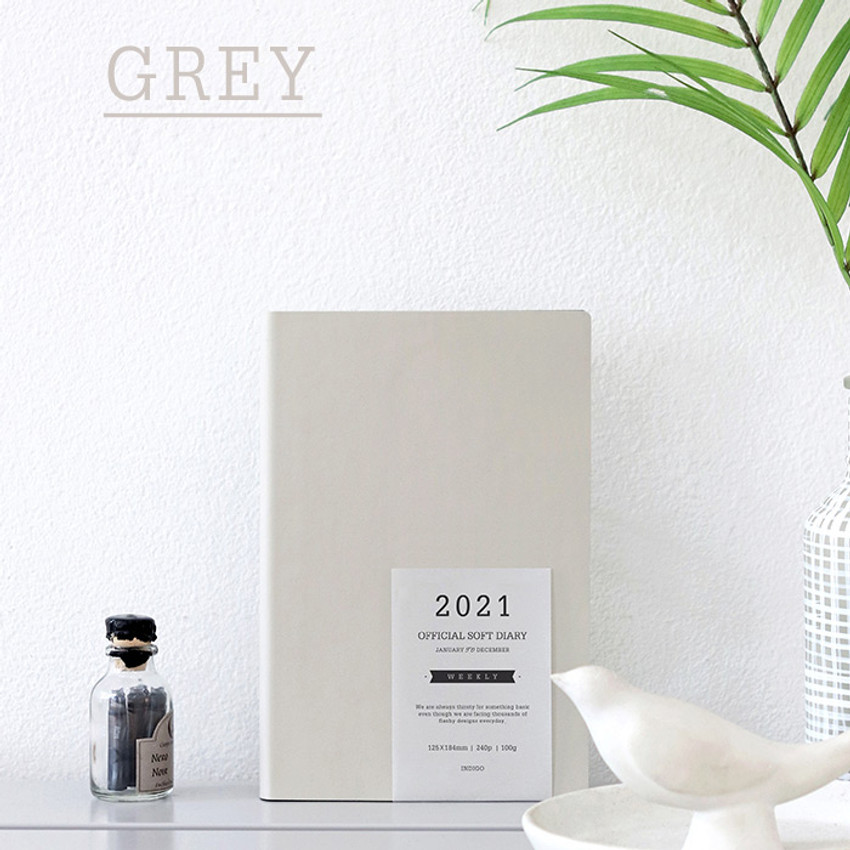 Gray - Indigo 2021 Official soft dated monthly diary planner