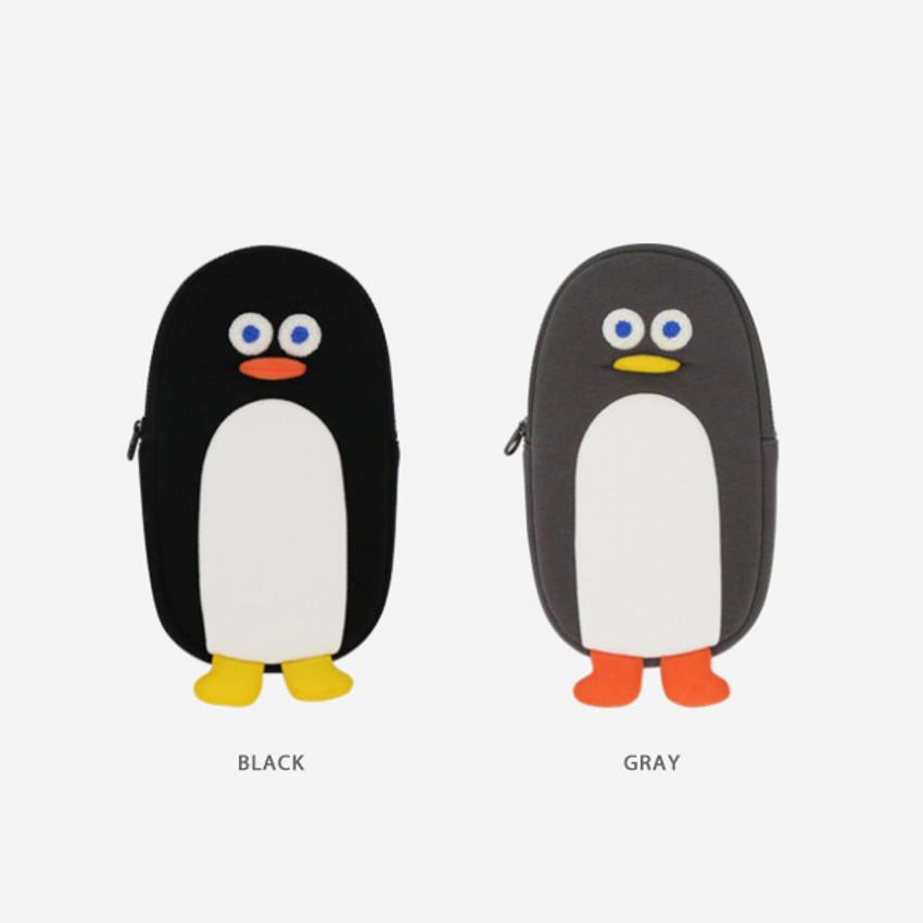 Color - ROMANE Brunch Brother penguin zipper pencil case