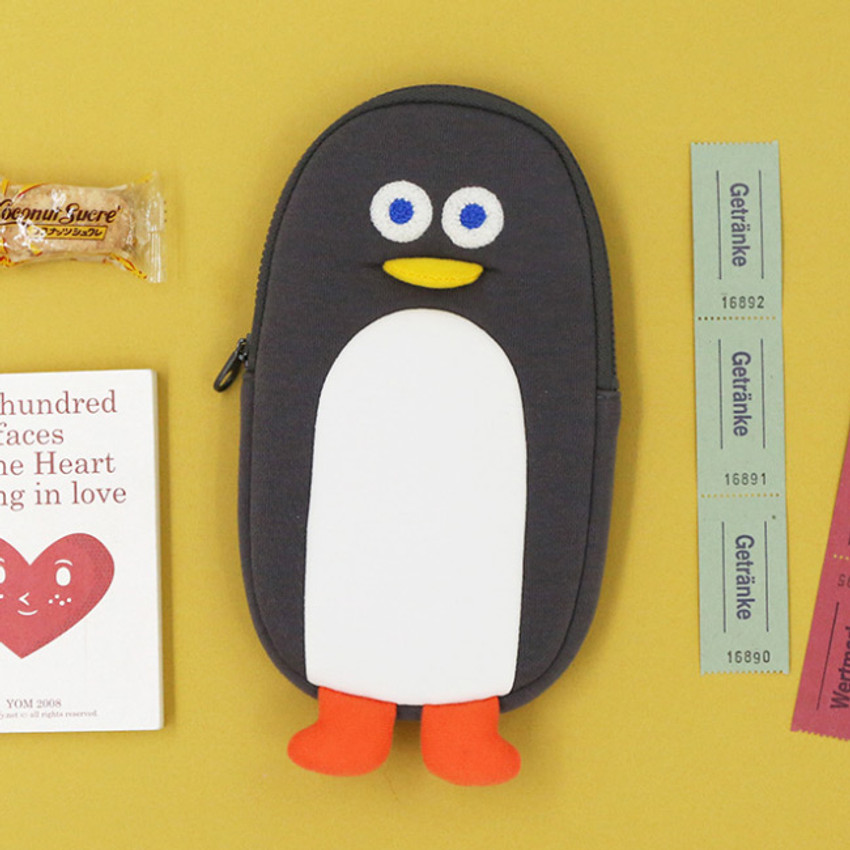 Gray - ROMANE Brunch Brother penguin zipper pencil case