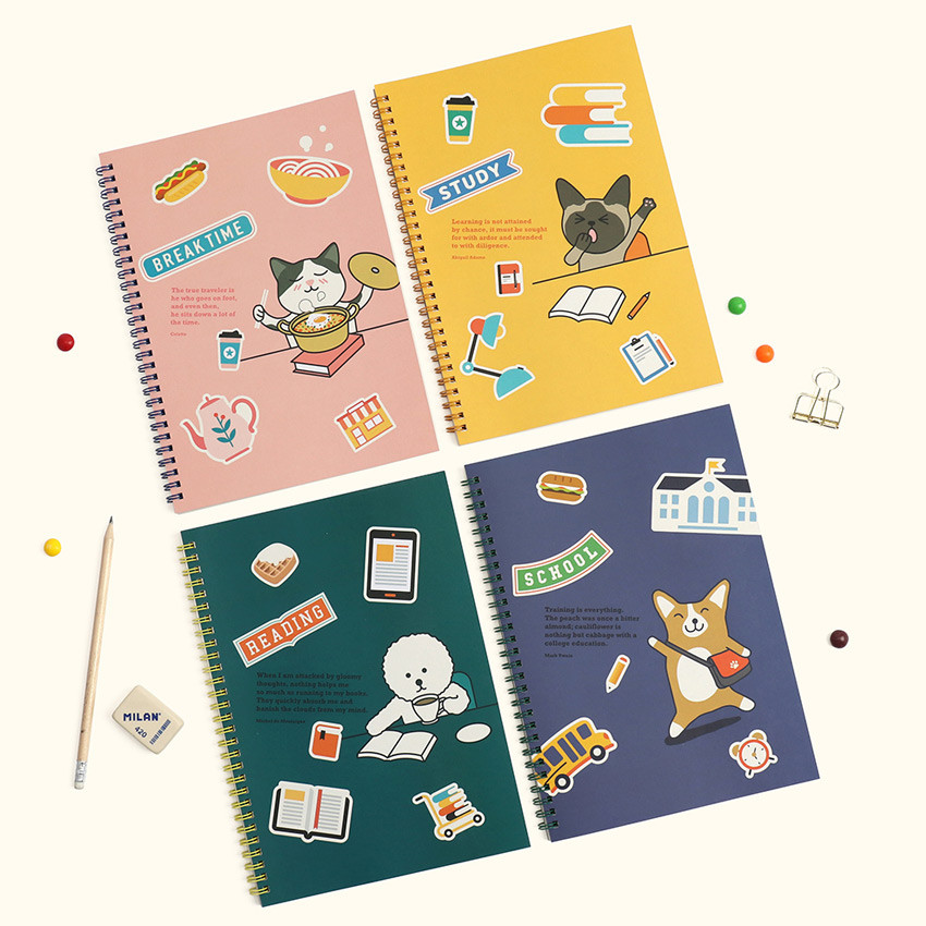 Bookfriends Reading pet wire bound blank notebook