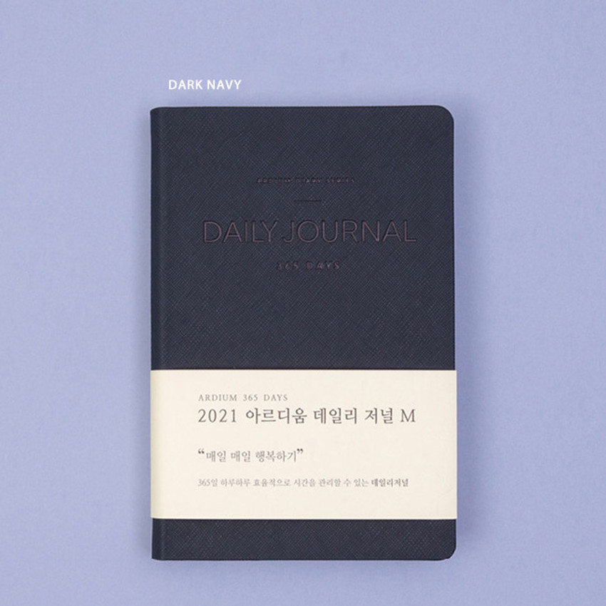Dark Navy - Ardium 2021 365 days medium dated daily journal diary