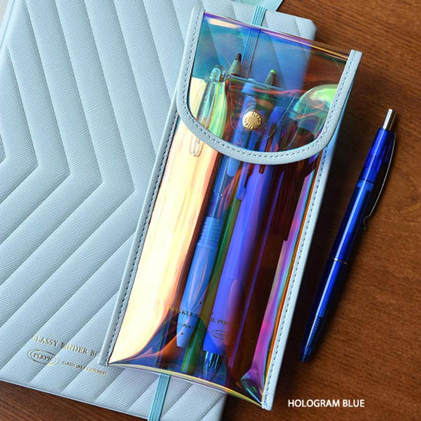 Hologram Blue - Play Obje Twinkle translucent PVC pencil case pouch