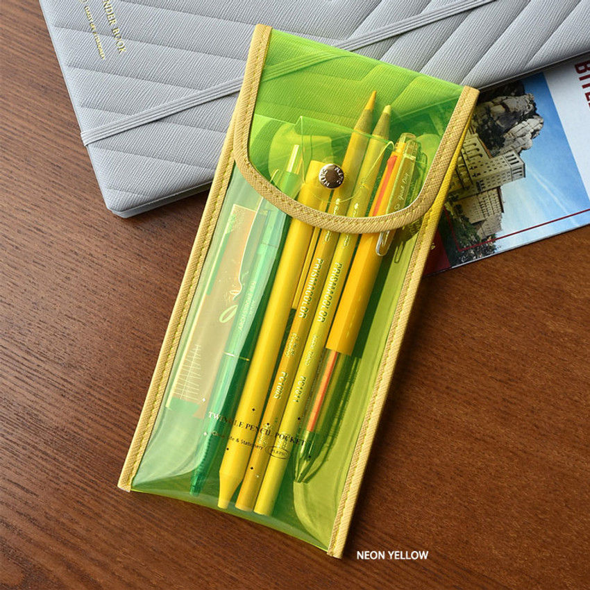 Neon Yellow - Play Obje Twinkle translucent PVC pencil case pouch