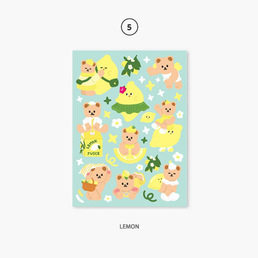 05 lemon - Project fruit my juicy bear removable sticker