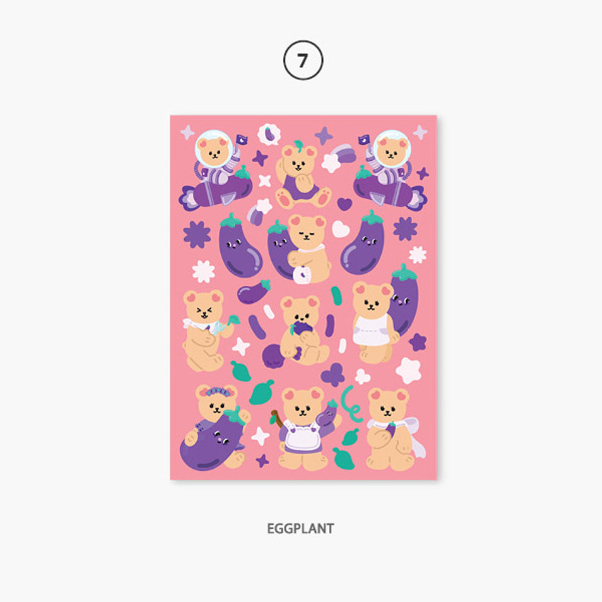 07 eggplant - Project fruit my juicy bear removable sticker