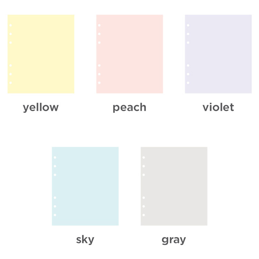 Color - Pastel colored 6-ring A6 wide blank notebook refills set