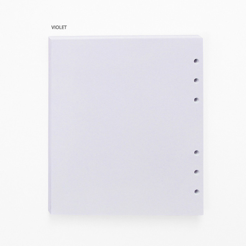 Violet - Pastel colored 6-ring A6 wide blank notebook refills set