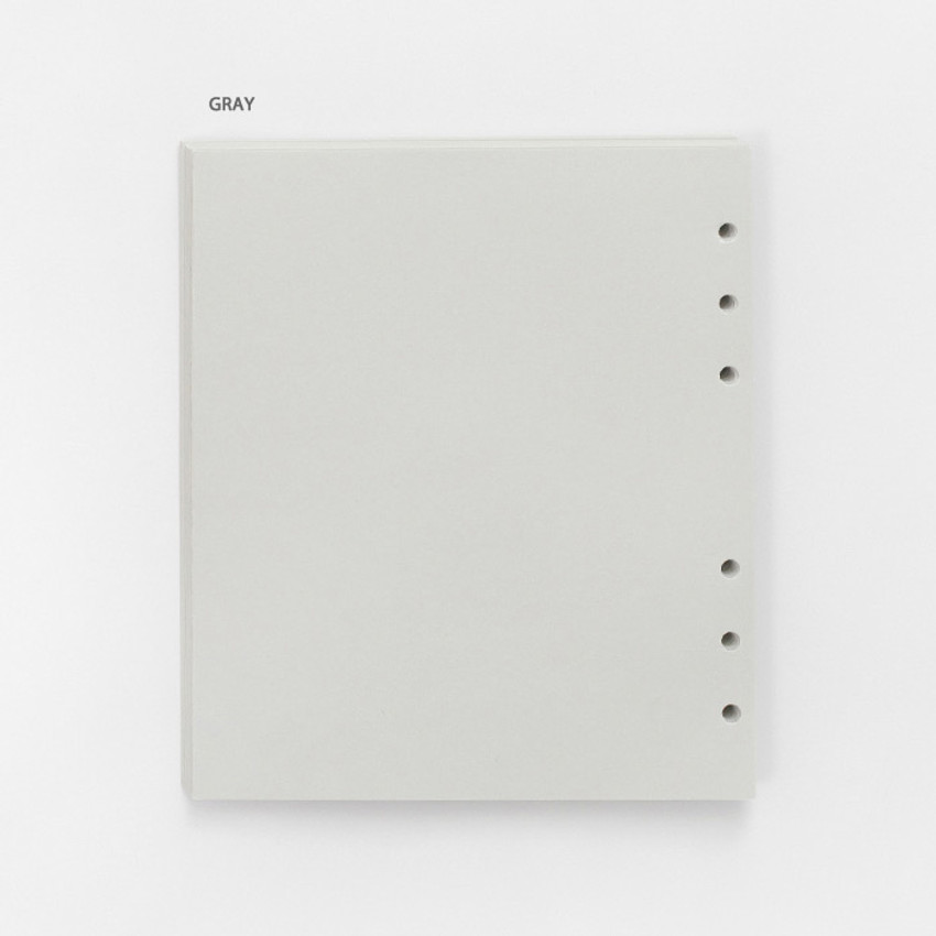 Gray - Pastel colored 6-ring A6 wide blank notebook refills set