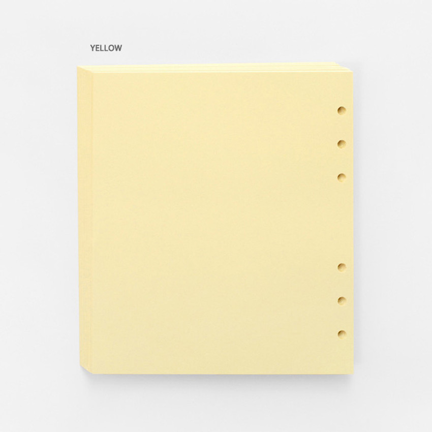 Yellow - Pastel colored 6-ring A6 wide blank notebook refills set