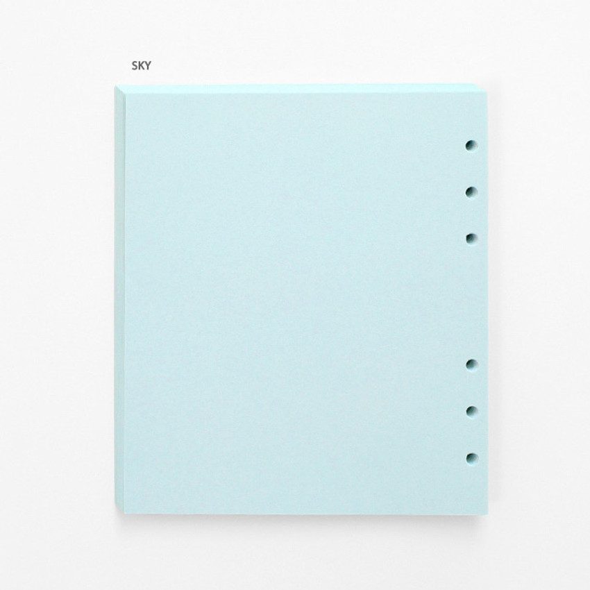 Sky - Pastel colored 6-ring A6 wide blank notebook refills set