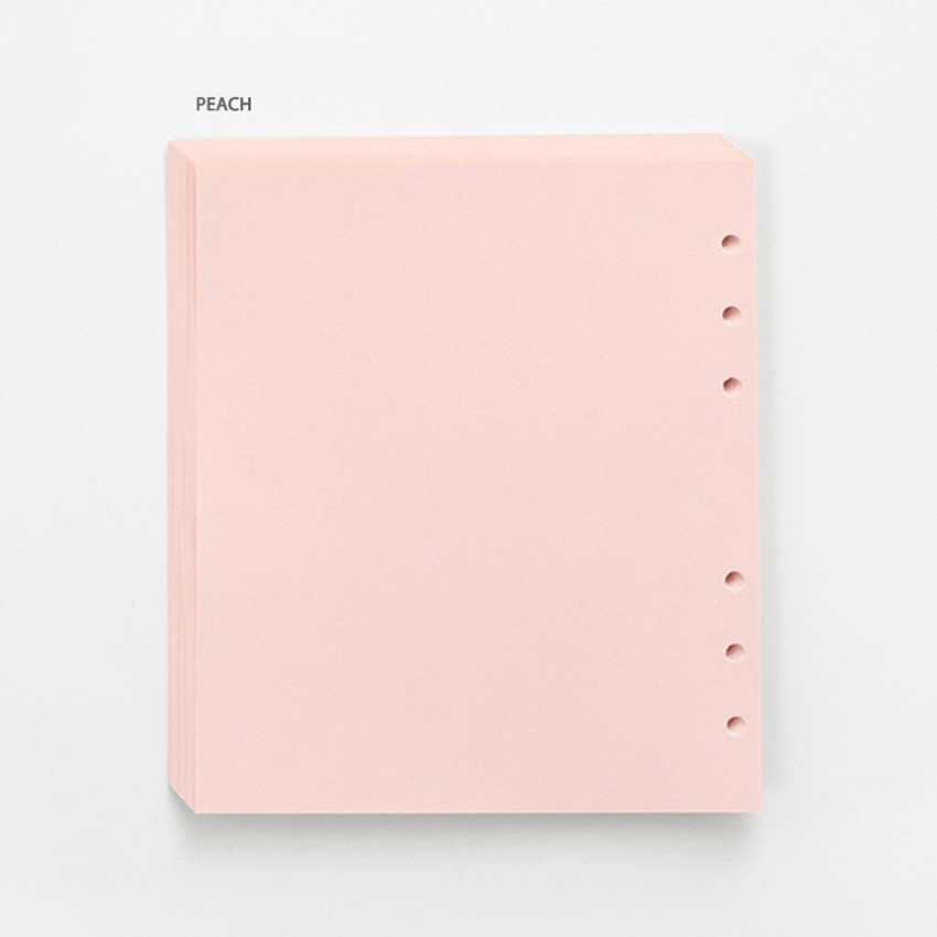 Pink - Pastel colored 6-ring A6 wide blank notebook refills set