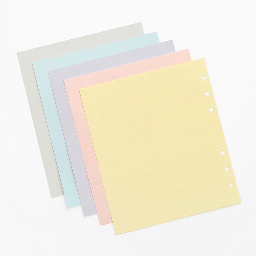 50 sheets - Pastel colored 6-ring A6 wide blank notebook refills set